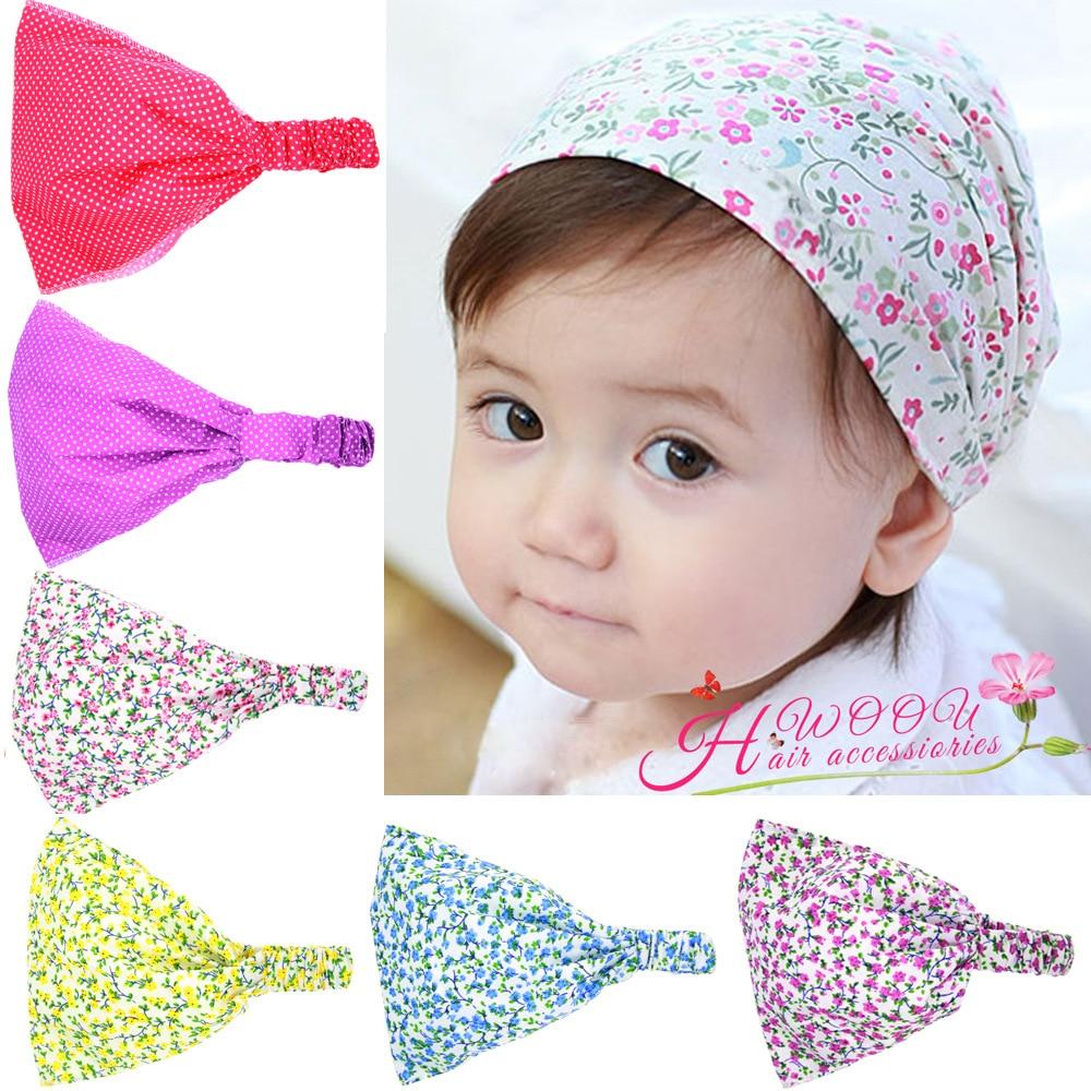 2016 Korean  Newborn Baby Print Flower Headbands Floral Scarf Headdress Baby Elastic Headband Children's Girl Hair Accessories