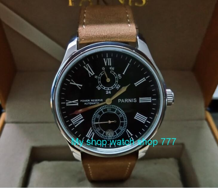 PARNIS 43mm black dial Automatic Self-Wind movement power reserve men's watch Mechanical watches wholesale GL214a 43mm parnis black dial automatic self wind mechanical movement power reserve mechanical watches men s watch x00066