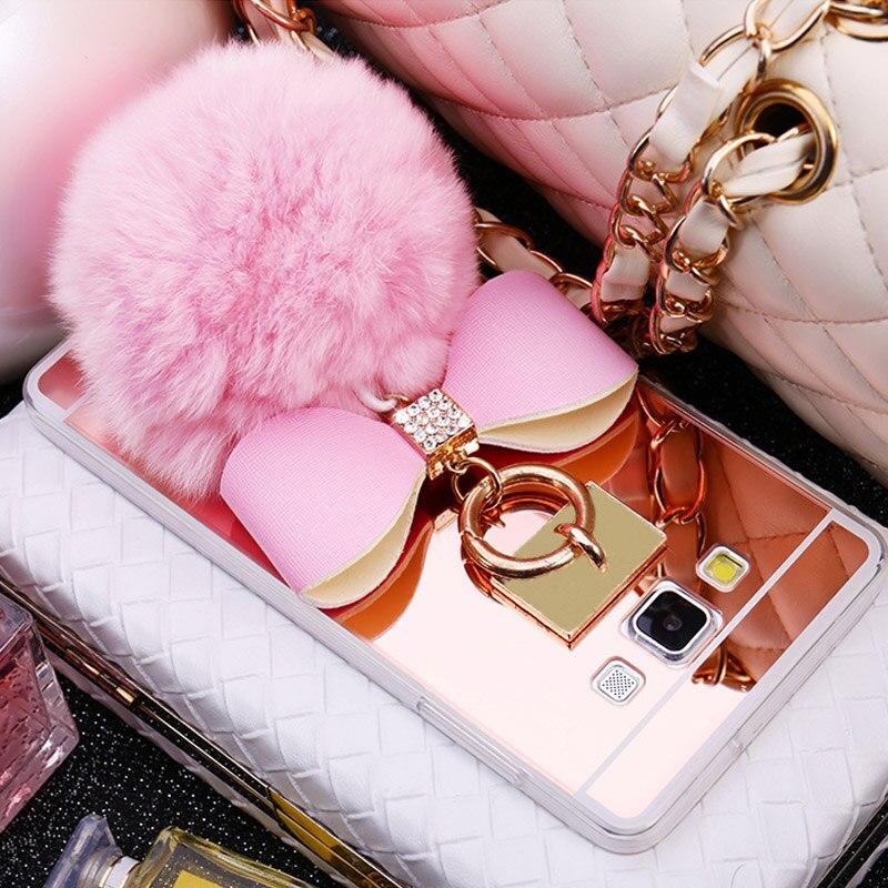 100% True Plating Bowknot Fashion Mirror Diamond Fluffy Ball Case Fundas For Samsung Galaxy J5 J7 2016 J3 J7 J5 2015 Luxury Case Cover Cellphones & Telecommunications