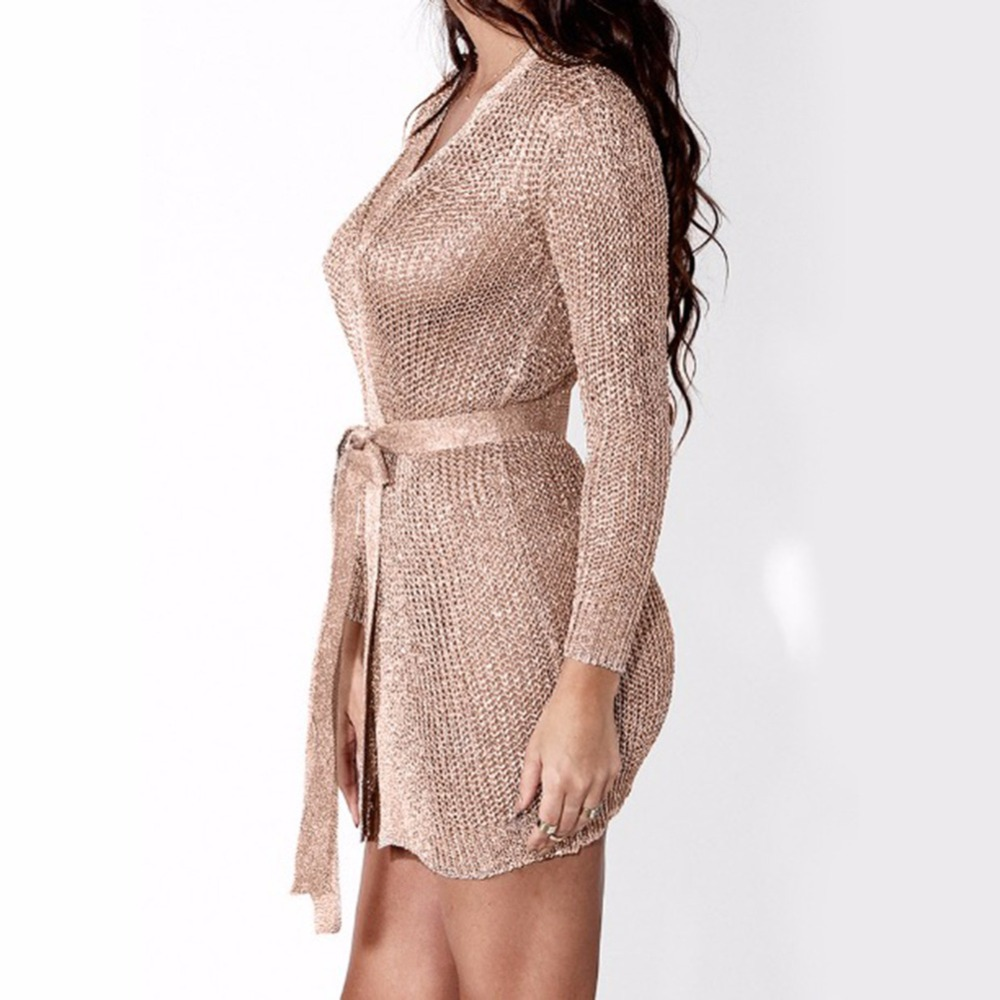 Women Sexy Dress Knitted Sweater Dress Silver Gold Club Party Bodycon Dress  Deep V neck Long Sleeve Cardigan Robe with Belt 2018-in Dresses from Women s  ... 04004ef291b1
