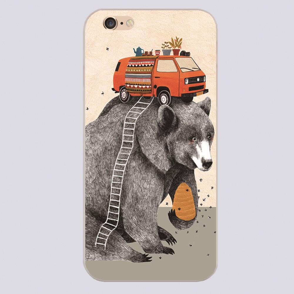 New arrived black bear bus Design white skin case cover cell phone cases for iphone 4 4s 5 5c 5s 6 6s 6plus