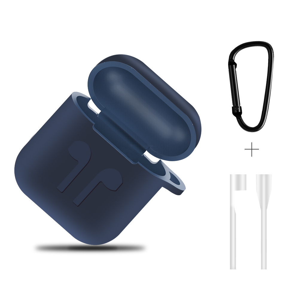 Airpods Case Shockproof Soft Cover Silicone Case For Apple Airpods Protector With Dust Plug Anti-lost Strap For Apple Air Pods