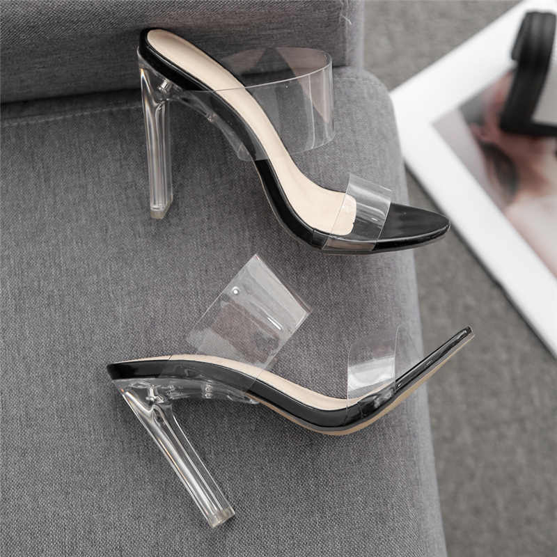 2019 Fashion Summer Women Crystal 11cm High Heels Mules Clear Block Heel Slides Female Transparent Heels Slippers Luxury Shoes