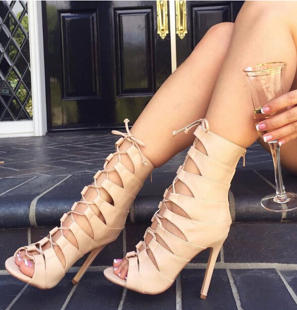 Summer Lace-up Cut-out Woman Dress Sandals Fashionable Beige Color Concise Hollow Outs Design Cross Lace Up Peep Toe High Heels woman beautiful royal blue wedges sandal summer sexy cut outs design charming tassels ankle lace up peep toe female party shoes