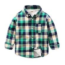 2016 New Arrival Children's Boys Pattern Shirt Cotton 8 Color Kids thicken Check Shirts 2016 Long Sleeve Boys Plus Velve Blouses