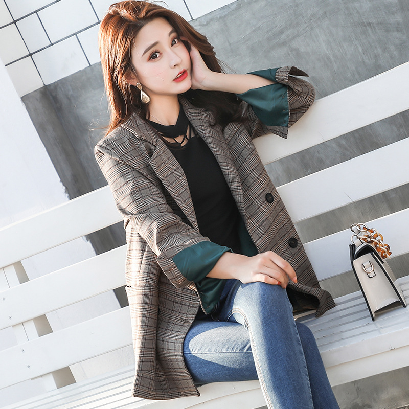 Hot Sale 2018 Women Retro Boyfriend Check Plaid Blazer Woman Notched With Pocket Double Breasted Suit Casual Jacket Loose Coat Outerwear Clients First