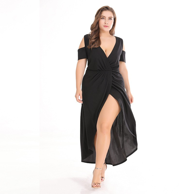 Plus size Summer Dress Women Short Sleeve V neck Split Casual Dresses Ladies Elegant Long Dress