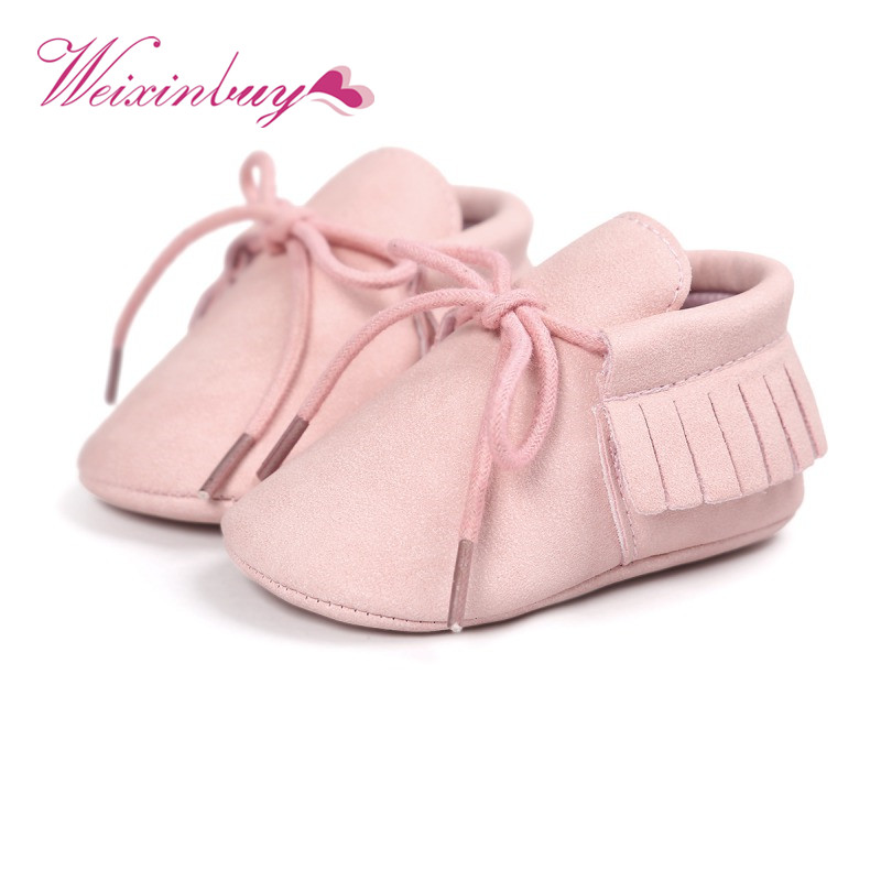 Newborn Baby Girl Boy Kids Newest Classic Leisure PU Leather  First Walkers Crib Infant Babe Star Pattern Handsome Retro Shoes A