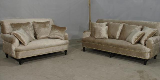Newest Home Furniture European Style Classic Fabric Living Room Sofas Sets  Wood Carving
