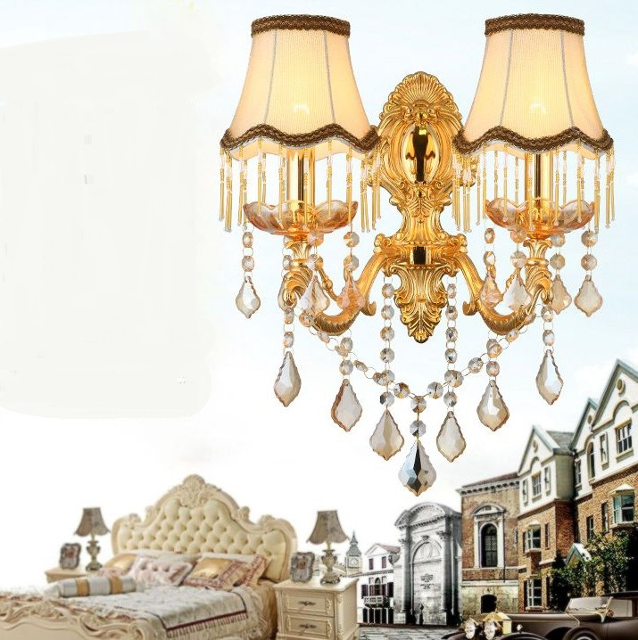 Continental wall lamps golden led bedside 2 head living room background bedroom study Corridor Hotel crystal wall lamp|crystal wall lamp|wall lamp|crystal wall - title=
