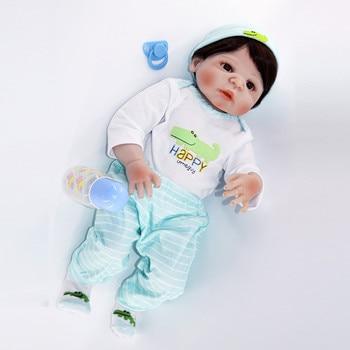 Reborn Baby Doll menino Silicone Vinyl skin Real Newborn boy bebe reborn Ethnic doll 55cm with baby clothe hot sale gift toy