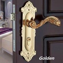Слоновая кость античная латунь механические немой панели замок ручки, золото и черный спальня кухня ванная комната твердая деревянная дверь замок золото