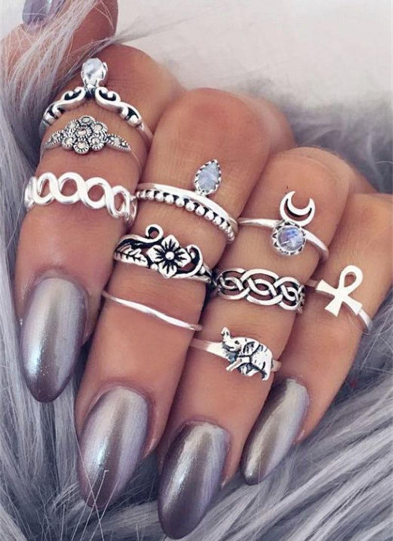 10pcs lot Bohemian Midi Ring Set Vintage Gypsy Boho Knuckle Rings Bohemian Elephant Moon Crystal Ring
