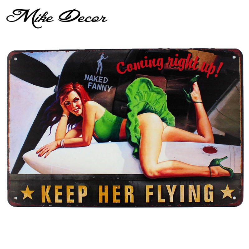 [ Mike86 ] Pinup wings Keep FLYING Metal Posters Vintage Art wall Sign decor Home Restaurant Hotel Retro Craft AA-988 20*30 CM