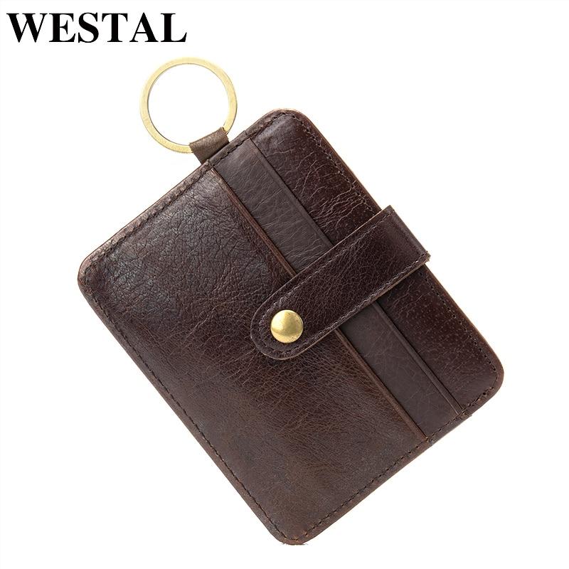 WESTAL äkta läder man kort hållare kort plånbok man kredit ID-kort hållare smal tunn handväska manlig läder mynt liten väska 9204