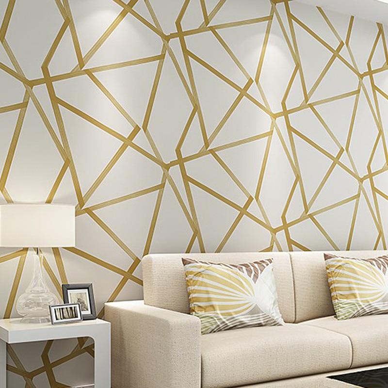 White teal beige gold geometric wallpaper modern - Wallpaper one wall in living room ...