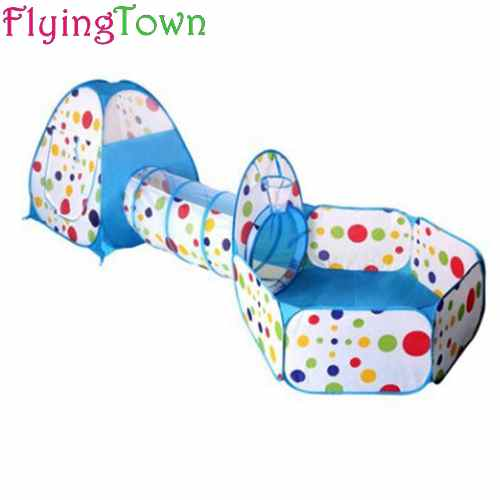 FlyingTown 3 In 1 Kids Tent for children Pipeline Crawling Huge Game Yard Ball Pool lodge FASHION Toy tents wholesale