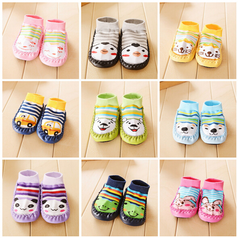 2015 Baby Shoes Socks Children Infant Cartoon Socks Baby Gift Kids Indoor Floor Socks Leather Sole Non-Slip Thick Towel Socks