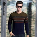 Winter New Mens Woollen Sweater Fashion Stripe Jacquard Thincken 100% Wool Casual Sweater For Men Pull Homme CB12E12