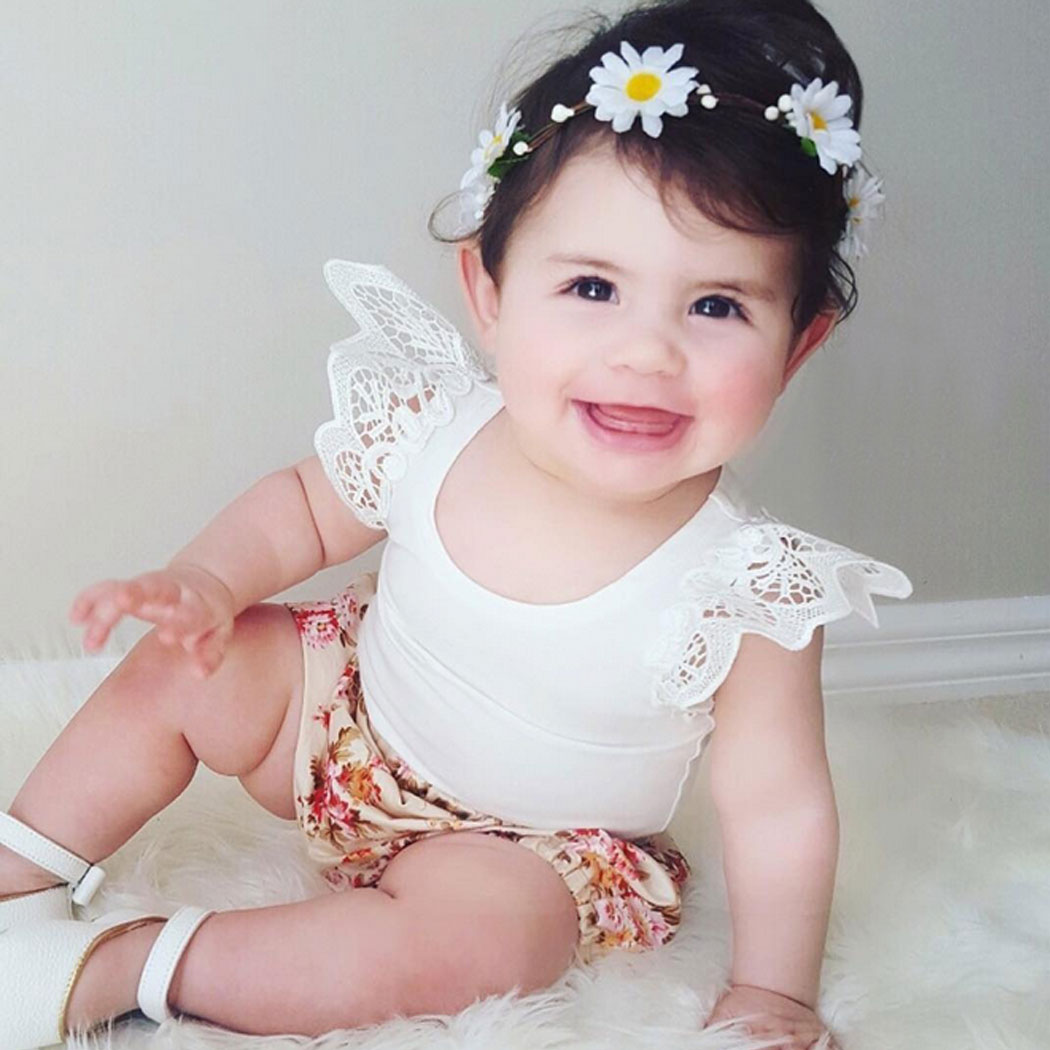 New Baby Girl Princess Tshirt Tops Sleeveless Solid Color Lace Crochet Tshirts 2018 summer Newest Childrens Clothing