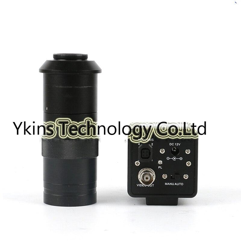 где купить 130X 180X 300X C lens, 800TVL 1/3 CCD BNC color video output digital industrial microscope camera for SMD BGA PCB дешево