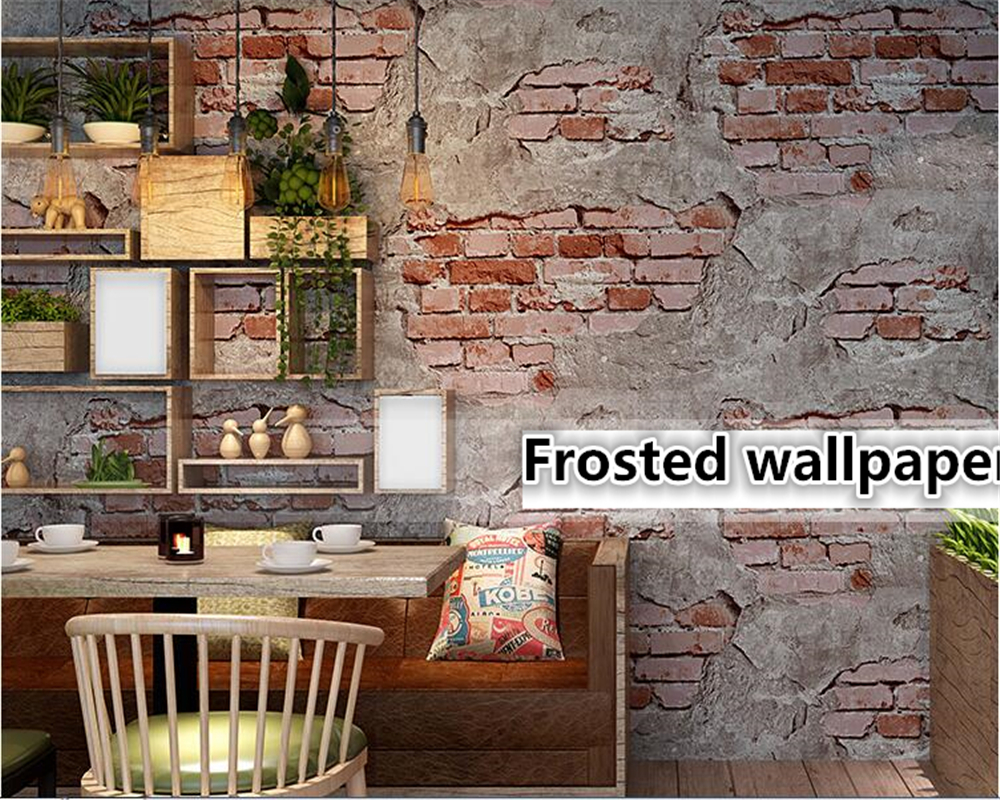 цена на beibehang wallpaper for walls 3 d Retro Vintage Gray 3d wallpaper Cement Brick Wall Industrial Wind Rustic Background Wall Paper