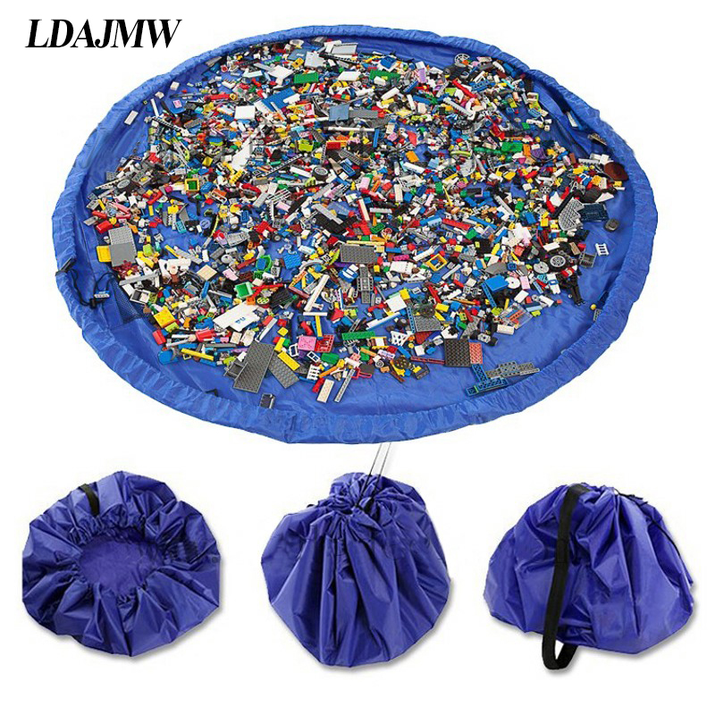 LDAJMW forró hordozható vízálló gyerekek gyermek csecsemő baba játék mat nagy tároló táskák játékszervező takaró szőnyeg dobozok kültéri pad