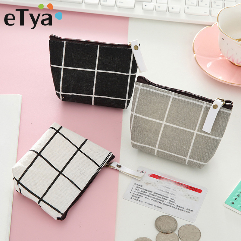 ETya New Women Kids Canvas Coin Purse Floral Plaid Zipper Pouch Small Wallet Children Female Key Card Holder Mini Money Bag Gift
