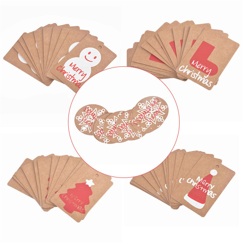 50pcs Christmas Kraft Paper DIY Merry Christmas Hanging Tags Small Gift Card Without Strings Crafts For Xmas New Year