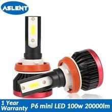 Aslent мини H4 Hi-Lo светодиодный H7 H11 H8 H1 H3 9005 9006 HB3 HB4 лампы удара светодиодный фары автомобиля 100 W 20000LM 6500 K для авто свет 12 V