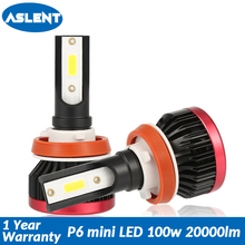 Aslent Mini H4 Hi-Lo LED H7 H11 H8 H1 H3 9005 9006 HB3 HB4 lamp Bulb COB Car Headlight 100W 20000LM 6500K for Auto Light 12V