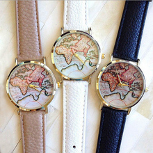 El envío libre 2017 Nueva Venta Caliente de Moda Del Mapa de Mundo correa moda reloj de Ginebra Reloj de Pulsera de cuarzo para las mujeres W150