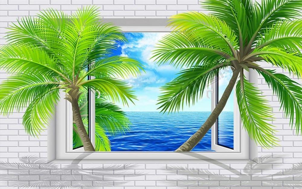 modern wall paper Custom 3d wall mural Brick Wall Window Coconut Tree Blue Sky living wall murals 3d abstract wallpapers