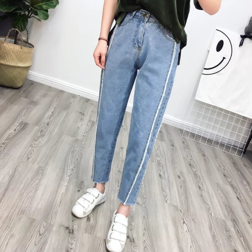 ФОТО 2017 WISHBOP NEW Hot Sale Woman Boyefriend Style Denim Jeans with frayed Detail ripped cuff Trousers
