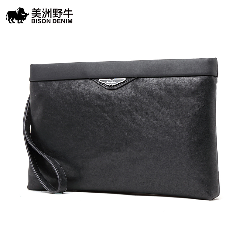 Brand BISON DENIM High Quality Men Clutch Bag Genuine Leather Wallet Business Casual Large Capacity Envelope Men's Purse