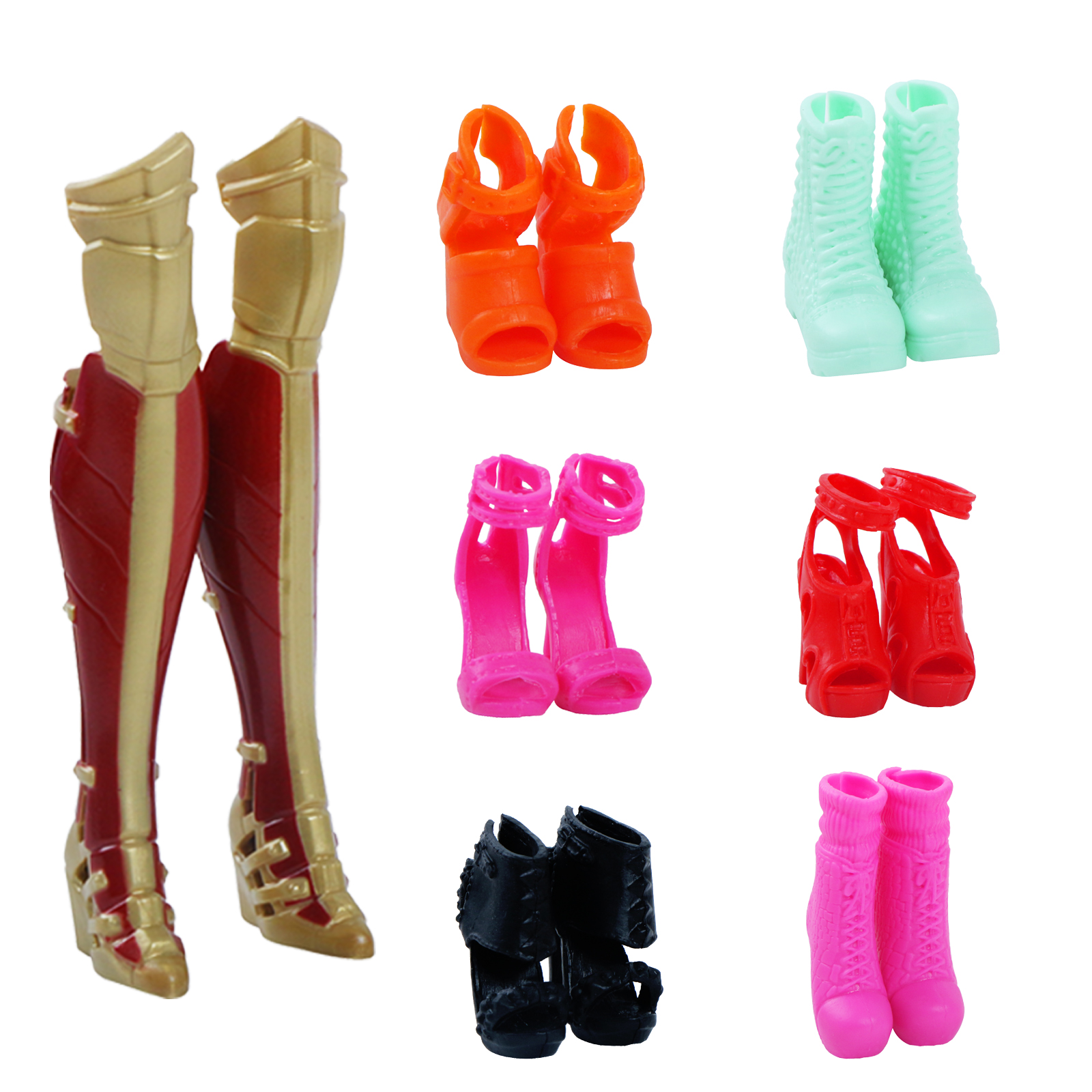 High Quality Doll Shoes For Barbie Doll Fashion Cute Colorful Assorted High Heels Shoes Boots Party Wear Doll Accessories Toy