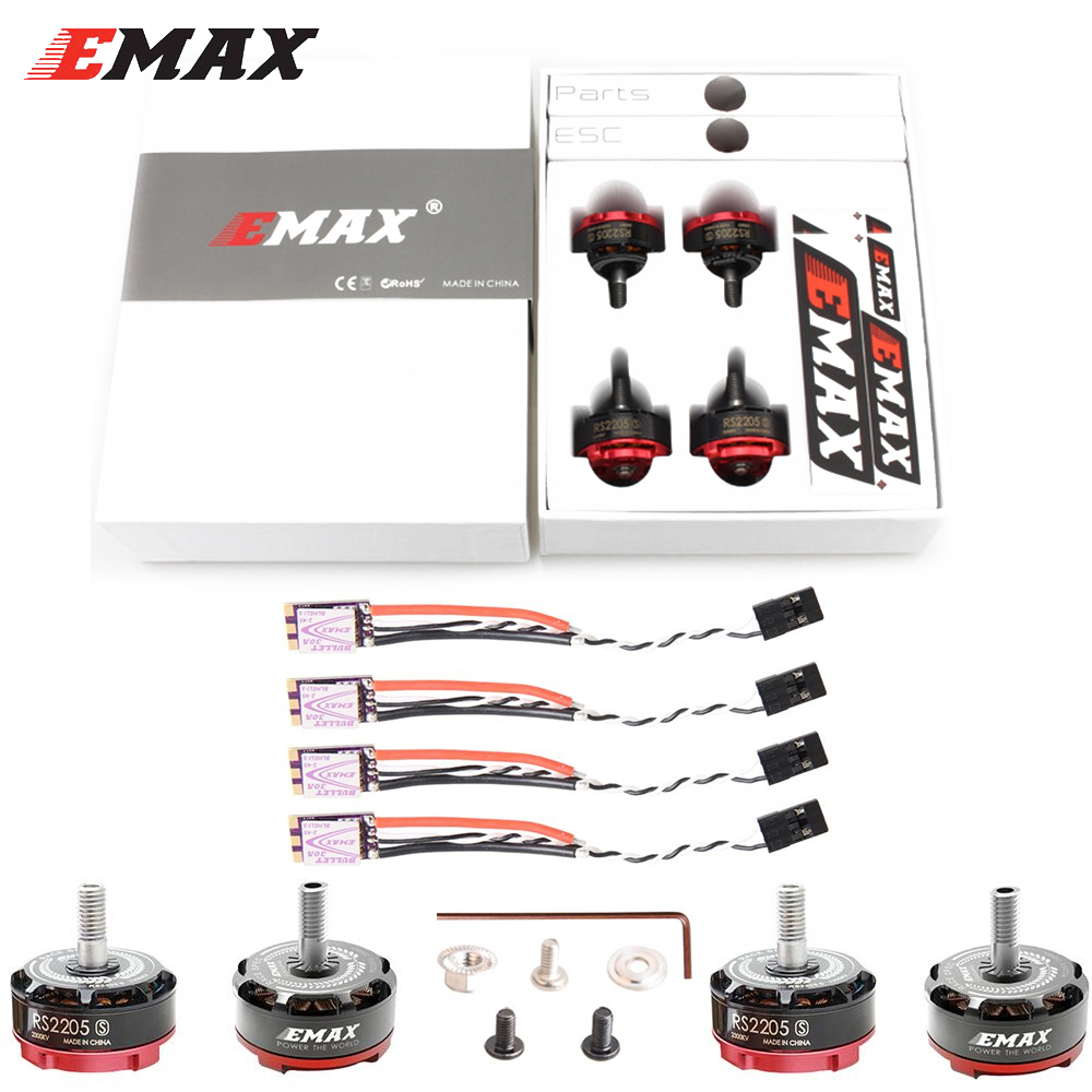 4 set/lot EMAX RS2205S 2300KV/2600KV RaceSpec Motor sin escobillas con bala 30A BLHELI_S D-SHOT de Combo para RC Quadcopter