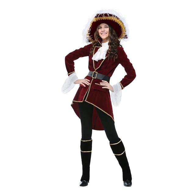 Halloween Deluxe Adult Women Captain Hook Costume Rich Red Velvet And An  Oversized Hat With White Feathers Clothing 48777ab4f94