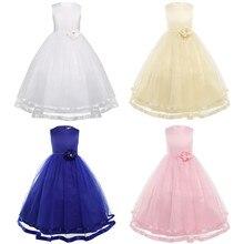 Sleeveless Princess Blue Flower Girl Dresses