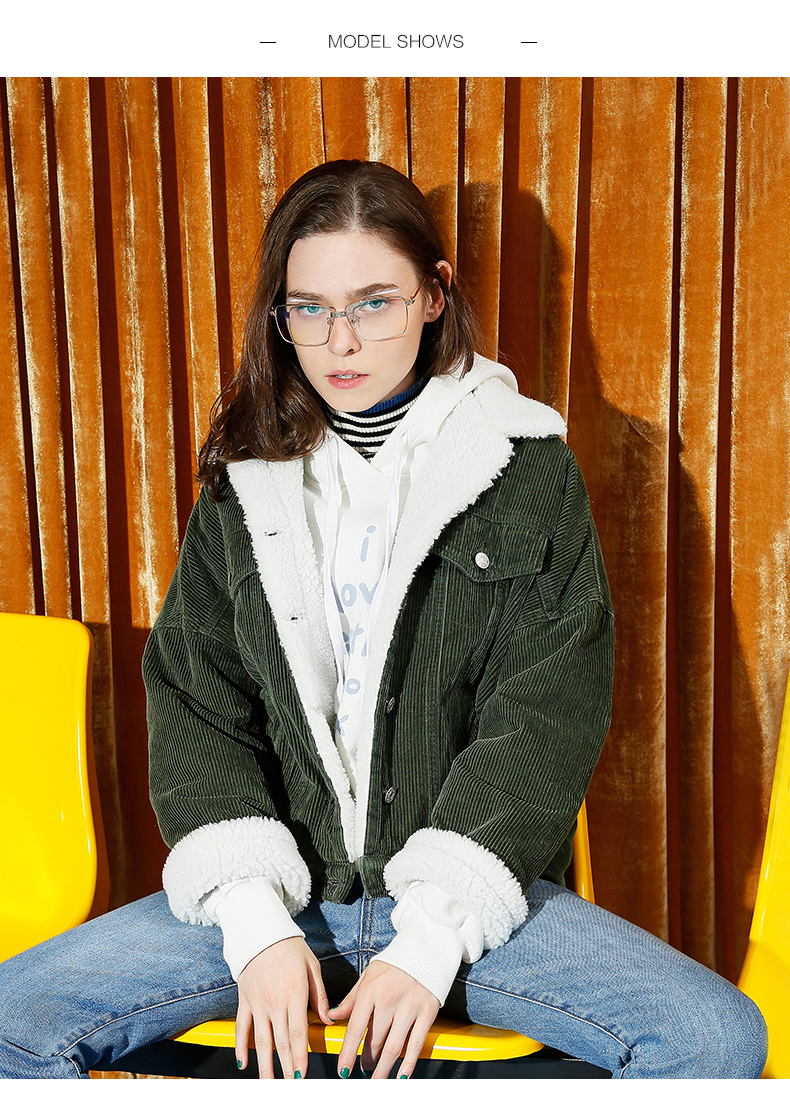 Toyouth Autumn Winter Corduroy Basic Jacket Lambswool Bomber Jacket Women Long Sleeve Jacket Casual Single Breasted Denim Jacket 10