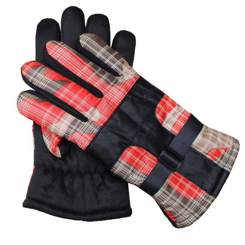 Windproof Gloves Men Plaid Printing Plus Velvet Keep Warm Mittens Non-slip Adjustable Ridding Gloves Full Finger