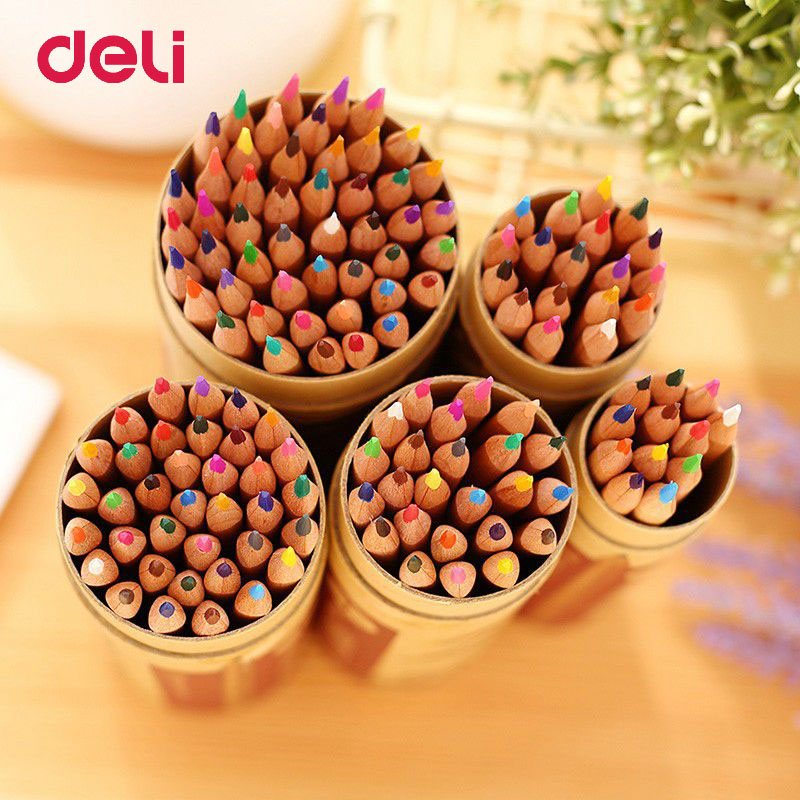 Deli 2018 Nature Wood Colored Pencils Set 12/18/24/36/48 Colors For Drawing Painting Sketch Lapis De Cor School Artist Supplie deli professional 72 colored pencil set water colour pencil tin box drawing painting sketch lapis de cor school artist supplie