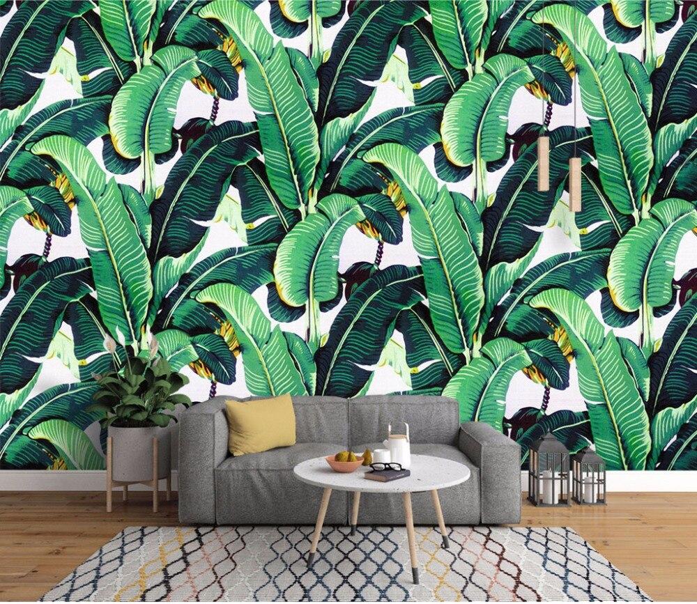 Bacaz Bananenblatt Tapeten Wandbilder Für Wohnzimmer Sofa Hintergrund Papel  3D Foto Mural 3d Wandbild Wand Papier