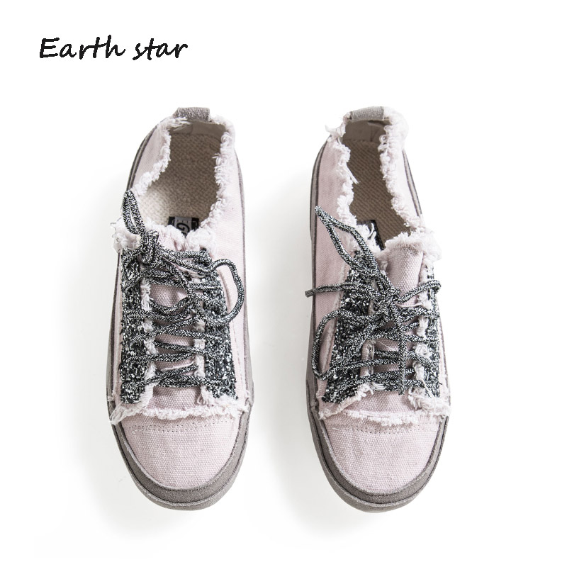 Casual Shoes Sneakers footware Lady Canvas Shoes EARTH Autumn Dirty STAR  Female Brand chaussure Rhinestone Fashion ... 3bfca985a157
