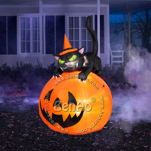 h019 3mh inflatable halloween decoration pumpkin with black cat on it spider with lights outdoor - Outdoor Inflatable Halloween Decorations