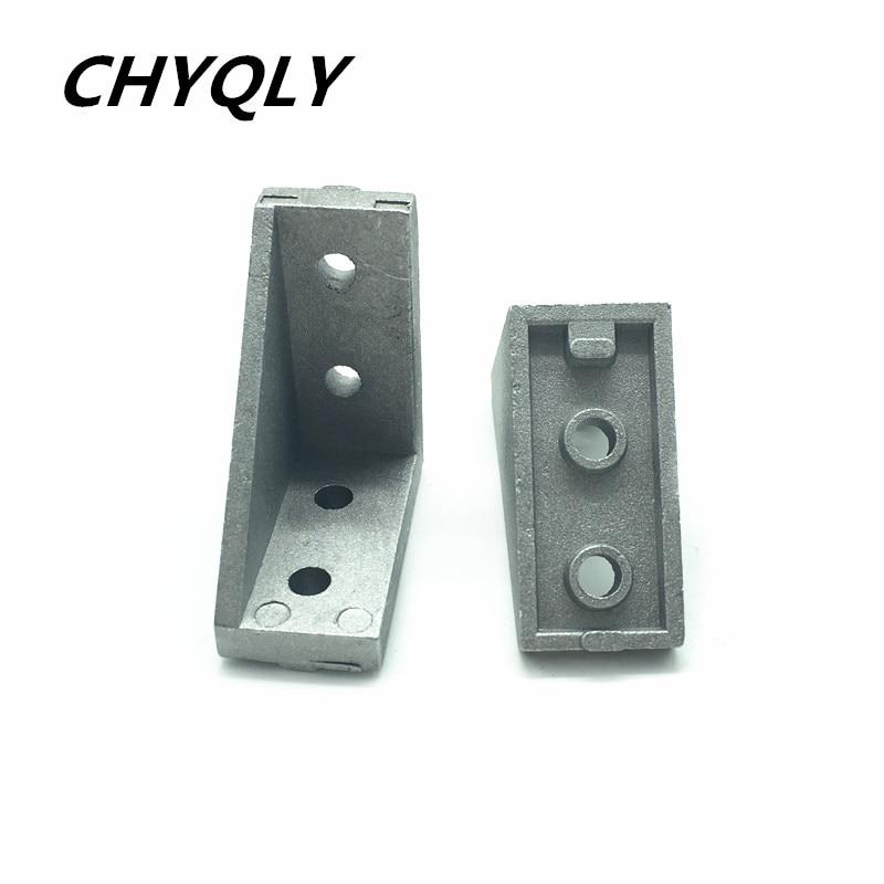 все цены на 50pcs/lot 2040 corner fitting angle aluminum 38x38 L connector bracket fastener match use 2040 industrial aluminum profile онлайн