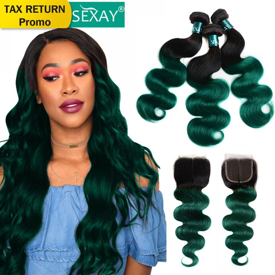 Mechès de cheveux Ombre avec fermeture SEXAY 1B/Vert Deux Tons d'Ombre 3 Mechès de cheveux Humains ondulés avec Fermeture Tissage brésiliens avec fermeture