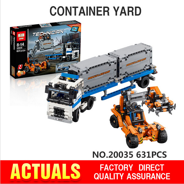 ФОТО LEPIN 20035 631Pcs New Technic Series The Container Trucks and Loaders Set Building Blocks Bricks Educational Toys 42062