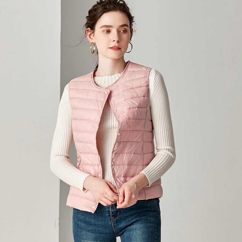 ฤดูใบไม้ร่วงน้ำหนักเบาเป็ดสีขาวลงเสื้อกั๊กผู้หญิง O - Neck Ultra Light Warm Waistcoat หญิงเสื้อแขนกุดเสื้อ Plus ขนาด 4XL ใหม่