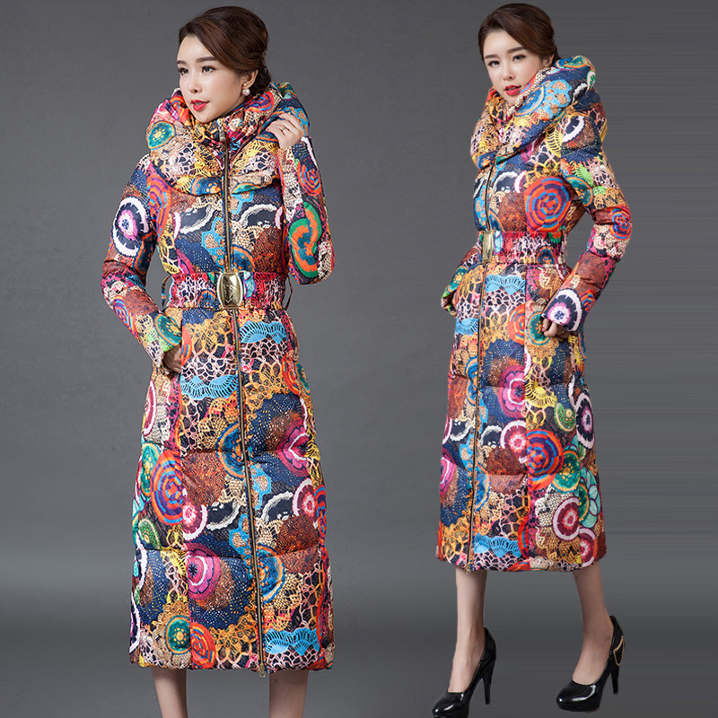 Hooded Printed Thicker Winter Down Cotton Jacket Women Long Coat 2019 New Big Size Padded Coats Fashion Casual Female   Parka   Warm